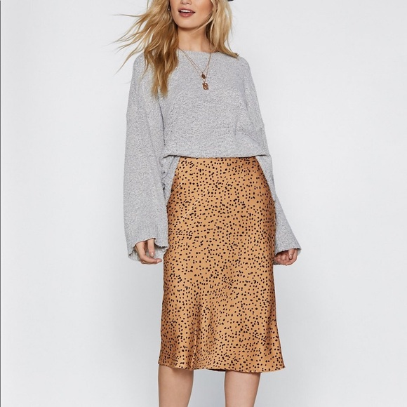 Silky Midi Spotted Skirt